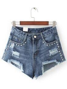 Blue Ripped Asymmetric Hem Rivet Denim Shorts