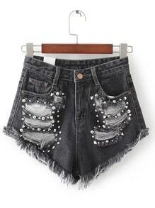 Black Ripped Rivet Detail Denim Shorts