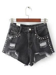 Black Ripped Asymmetric Hem Rivet Denim Shorts