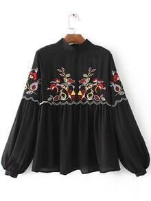 Black Embroidered Lantern Sleeve Zip Back Blouse