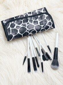 Set de cepillos de maquillaje 10pcs con neceser - blanco