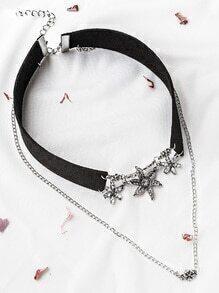 Black Rhinestone Flower Pendant Layered Velvet Choker