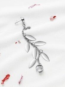 Silver Leaf Charm Chain Ear Cuff