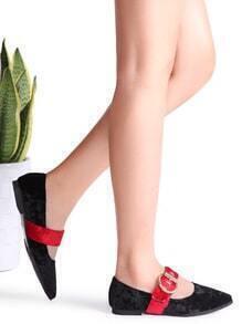 Black Buckle Strap Velvet Pointed Toe Flats