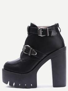 Black Buckle Strap Platform PU Heeled Ankle Boots