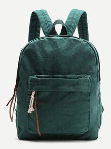 Dark Green Zipper Front Canvas Backpack