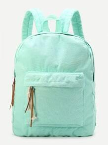 Light Green Zipper Front Canvas Backpack