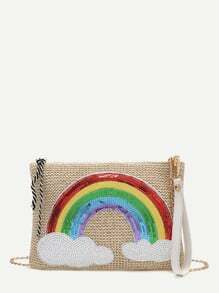 Khaki Sequin Rainbow Embellished Straw Chain Bag