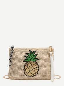 Khaki Sequin Pineapple Embellished Straw Chain Bag