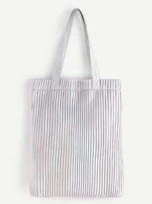 Silver Striped PU Tote Bag
