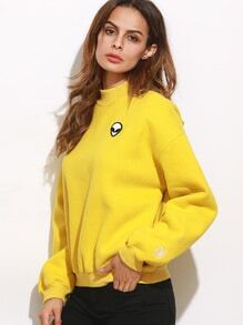 Sweat-shirt en broderie motif alien - jaune