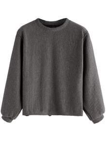 Sweat-shirt tricoté à nervures - gris foncé