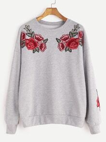 Heather Grey Drop Shoulder Rose Embroidered Sweatshirt