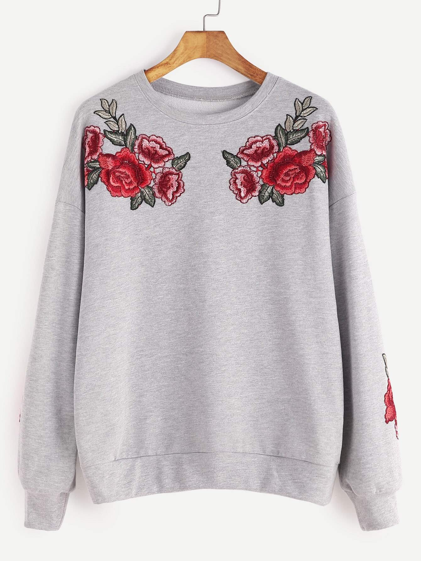 sweatshirt mit rose stickereien drop schulter hell grau. Black Bedroom Furniture Sets. Home Design Ideas