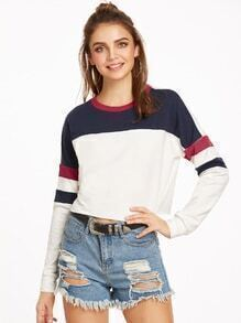 Color Block Drop Shoulder Raw Hem Crop Sweatshirt