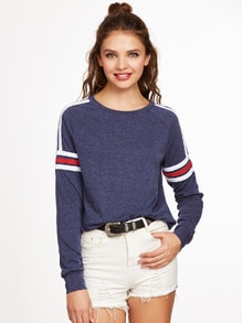 Navy Heathered Varsity Striped Raglan Sleeve Sweatshirt