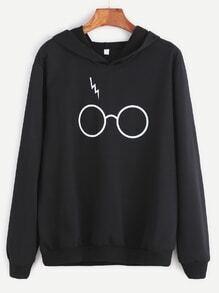 Sweat-shirt imprimé lunettes avec capuche - noir