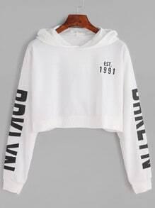 White Letter Print Crop Hooded Sweatshirt