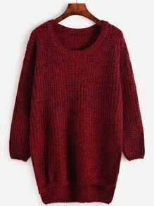 Burgundy Drop Shoulder High Low Sweater