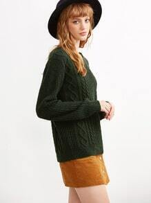 Dark Green Cable Knit Round Neck Sweater