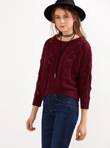 Burgundy Eyelet Cable Knit Sweater