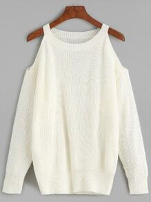 White Cold Shoulder Knit Sweater