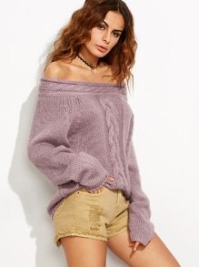 Purple Cable Knit Off The Shoulder Sweater