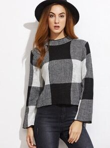Black And White Checkered Mock Neck Crop Sweater