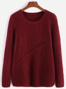 Burgundy Ribbed Knit Eyelet Panel Sweater