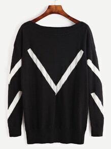 Black Contrast Panel Drop Shoulder Sweater
