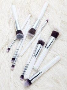 Set de cepillos de maquillaje profesionales 10pcs - blanco