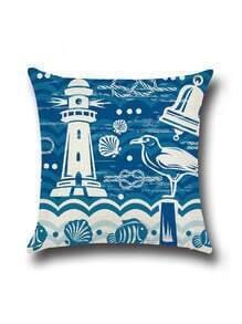 Blue Lighthouse Print Cushion Cover