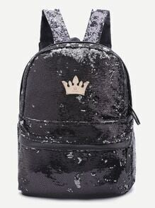 Black Sequin Overlay Crown Detail Backpack
