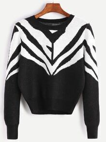 Black And White Geo Pattern Crop Sweater
