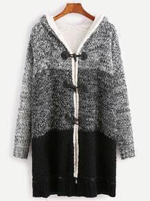 Contrast Faux Shearling Neckline Duffle Sweater Coat