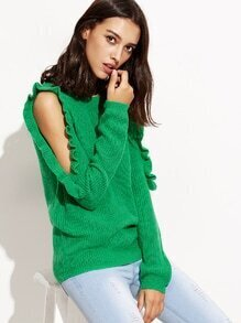 Green Open Shoulder Ruffle Pullover Sweater