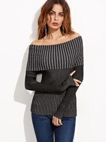 Black Fold Over Off The Shoulder Ribbed Sweater