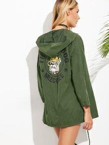 Army Green Dog Print Drawstring Hem Hooded Coat