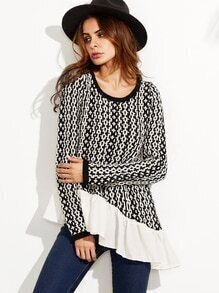 Black And White Asymmetric Sweater With Contrast Ruffle Trim