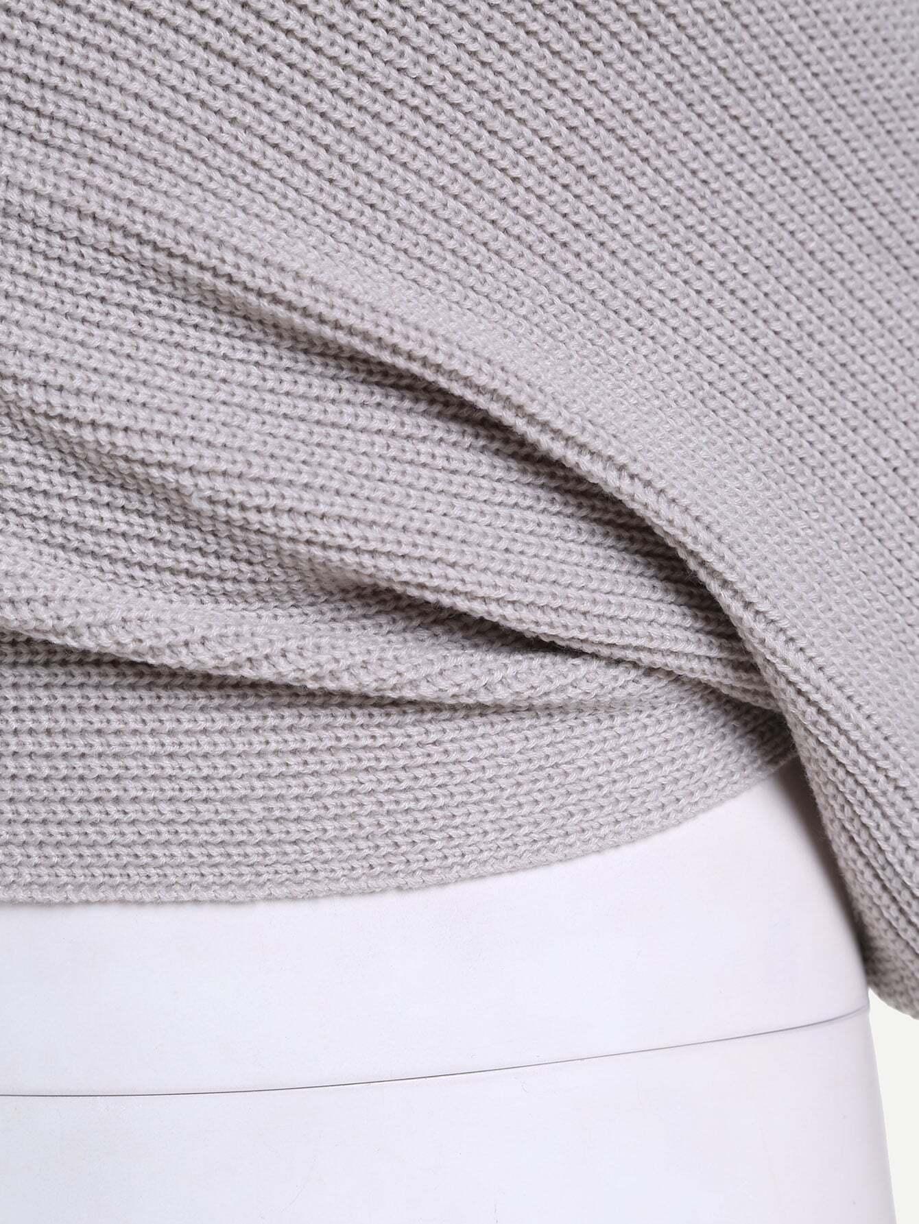 pull enveloppe col bateau manche longue gris french romwe. Black Bedroom Furniture Sets. Home Design Ideas
