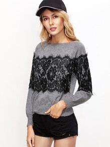 Grey Contrast Floral Lace Applique Sweater