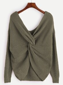 Army Green V Neck Knot Sweater