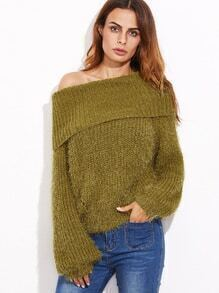 Mustard Double Way Lantern Sleeve Fluffy Sweater