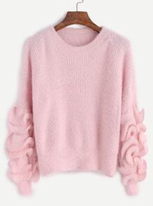 Pink Drop Shoulder Ruffle Trim Fuzzy Sweater