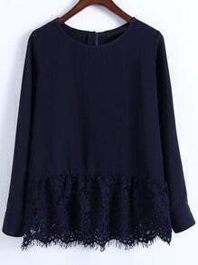 Navy Lace Hem Round Neck Casual Top