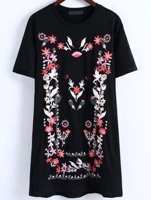 Black Floral Embroidery T-shirt Dress