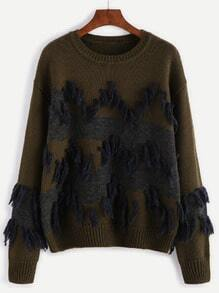 Olive Green Contrast Panel Tassel Trim Sweater
