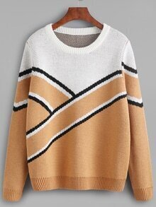 Color Block Wide Stripe Pattern Sweater