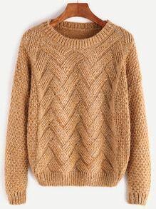 Khaki Drop Shoulder Slub Sweater