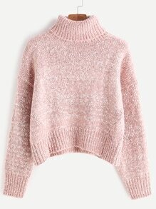 Turtleneck Drop Shoulder Crop Cable Knit Sweater